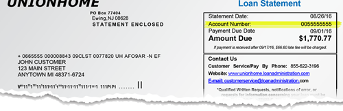 Where is my account information? In the upper-right hand corner of your loan statement.