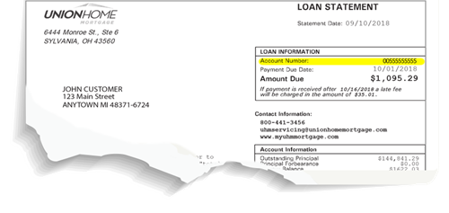 Where is my account number? In the top right hand corner of your loan statement.